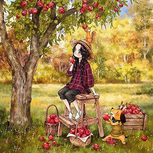 TWYYDP Klassisches Erwachsene Holzpuzzle 1000 Teile Cartoon Apfelbaum Kleines Mädchen Kinder Oder Freunde