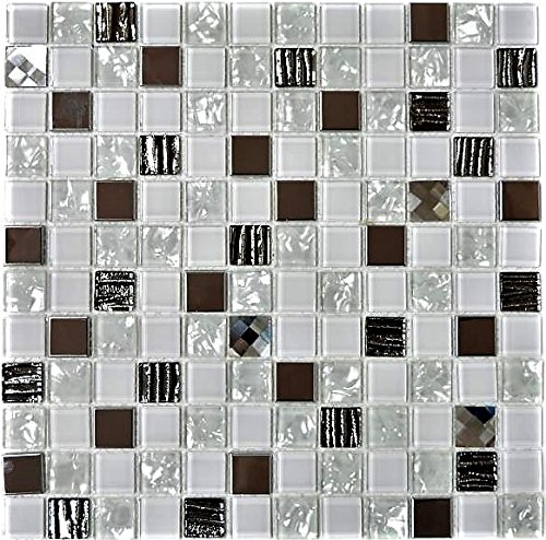 Mosaik Fliese Transluzent Edelstahl weiß Glasmosaik Crystal Stahl weiß Glas für WAND BAD WC DUSCHE KÜCHE FLIESENSPIEGEL THEKENVERKLEIDUNG BADEWANNENVERKLEIDUNG Mosaikmatte Mosaikplatte