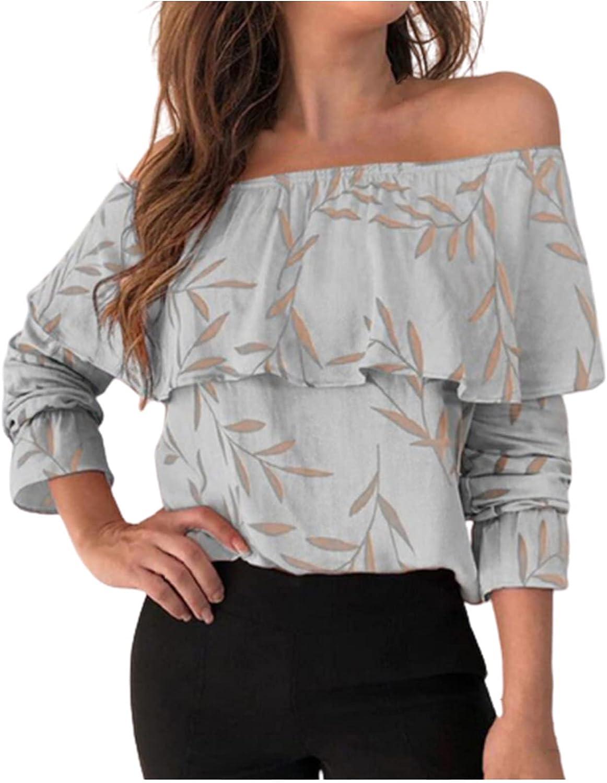 GOODTRADE8 Womens Long Sleeve Tops, Women Printing Sexy Off Shoulder Neck Long Sleeve Shirt Tops Blouse
