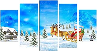 FEDULK 5PCs Picture Decor Christmas Santa Claus HD Canvas Print Bedroom Home Wall Art Painting Decorations