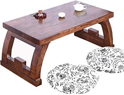 Living Room Furniture Living Room Coffee Table Bedroom Tea Table Balcony Low Table Chinese elm Tea Table Wooden Table a Table That can be Placed on The Window sill Leisure Table (Send Two Cushions)