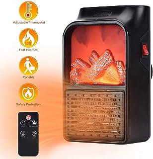 ELINKUME Mini Calefactor Cerámico, 900W Calentador de Espacio Eléctrico Portátil, Control Remoto, Temporizador Ajuste Temperatura Digital, Mantener el Calor en Invierno para el Hogar/Oficina/Viaje