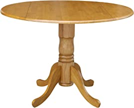 International Concepts 42-inch Round Dual Drop Leaf Ped Table, Oak
