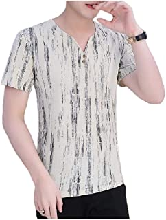 Doufine Mens Tunic Shirt Short-Sleeve Summer Floral Thin Vogue T-Shirt Top