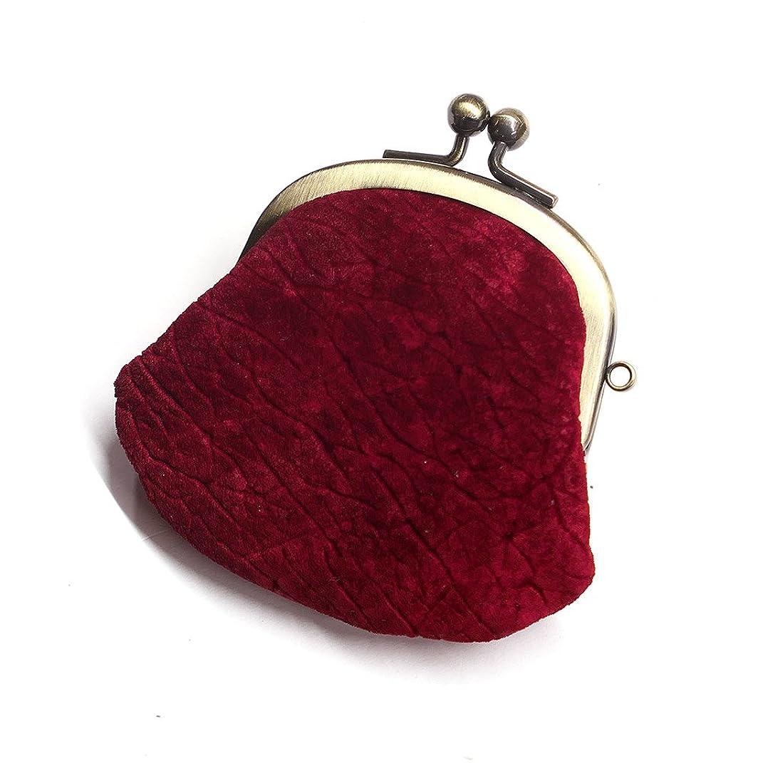 また買い手努力HIPP1272-RED コインケース がま口 レディース メンズ コンパクト ミニがま mini 小さい 小銭入れ がま口財布 カバ革 ヒポポタマスレザー 本革 レザー 財布 日本製 赤 レッド