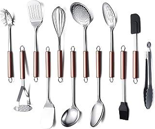 ست ظروف آشپزخانه فولاد ضد زنگ HOMQUEN ، ظروف 12 پز ، لوازم آشپزخانه لوازم آشپزخانه ، بهترین مجموعه هدیه - ابزار آشپزخانه (دسته طلای رز)