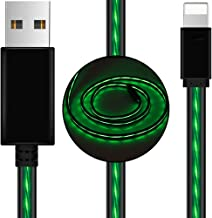 AoLiPlus 6.6 FT Longer LED Charging Cable Visible Flowing Light UP USB Charger Sync Data Cords Compatible with Phone X/8/8 Plus/7/7 Plus/6/6 Plus/5/5S/5C/SE/Pad and More (Green)