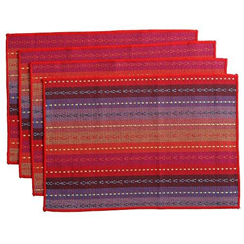 Inwagui 100% Handgefertigt gewebt geflochten Gerippte Baumwolle Tischsets 30cm x 45 cm Set von 4 Placemats-Rot