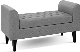 Artiss Fabric Storage Ottoman Light Grey, 96(L) x 45(W) x 59.5(H)