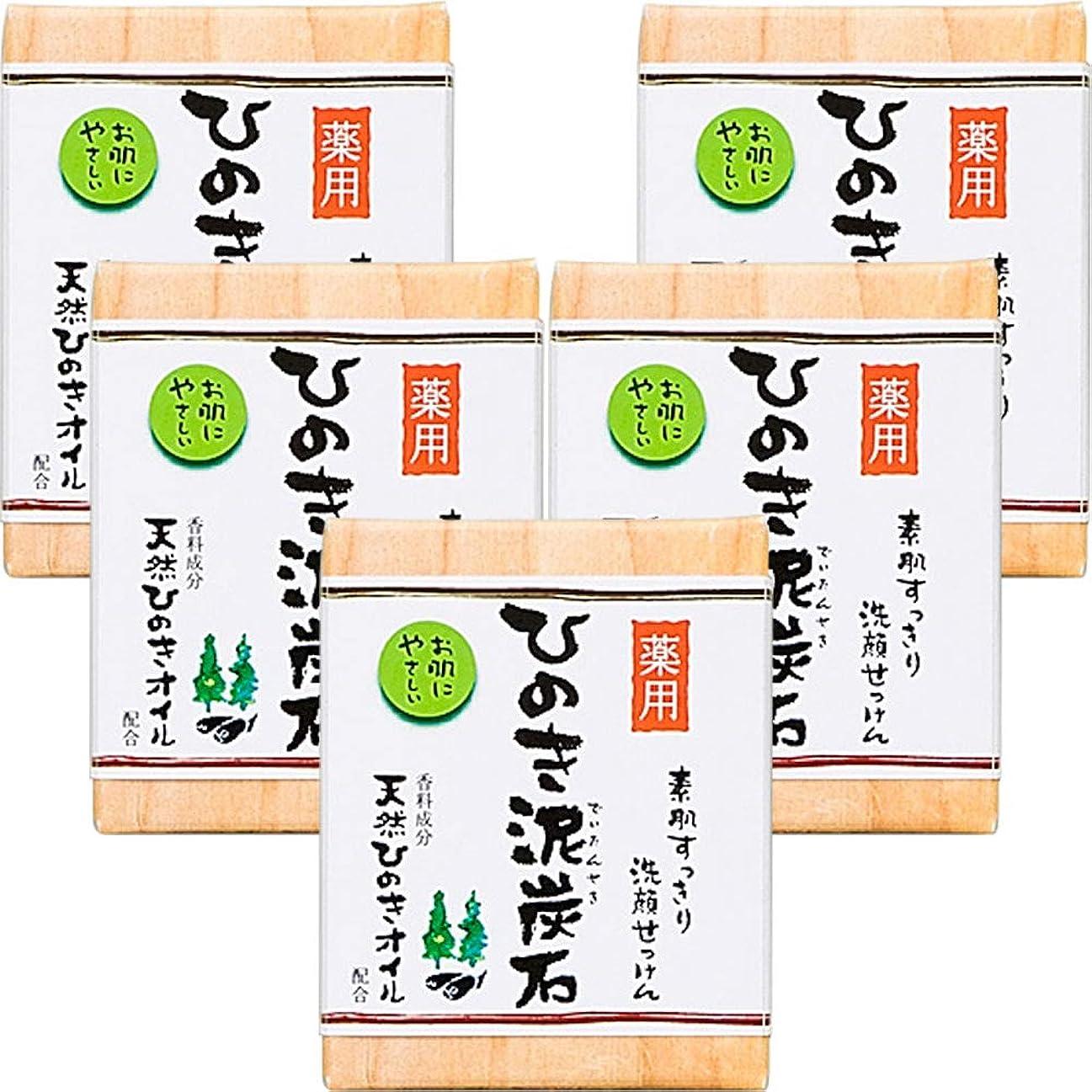 太い地下レンド薬用 ひのき泥炭石 (75g×5個) 洗顔 石けん [天然ひのきオイル配合] 肌荒れ防止