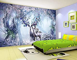 3D Sika Deer Forest Green Leaves WGF566 Wall Paper Print Decal Indoor Wall Mural Self-Adhesive Wallpaper AJ WALLPAPER AU A...