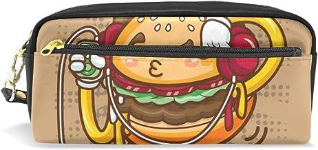 Divertido estuche para lápices de dibujos animados con diseño de hamburguesa para escuchar música, para niños, gran capacidad, para maquillaje, cosméticos, oficina, viajes