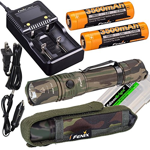 Fenix PD35 TAC Camo 1000 Lumen CREE LED Tactical Flashlight, Fenix smart battery charger, Two Fenix 18650 3500mAh rechargeable batteries with EdisonBright battery carry case bundle