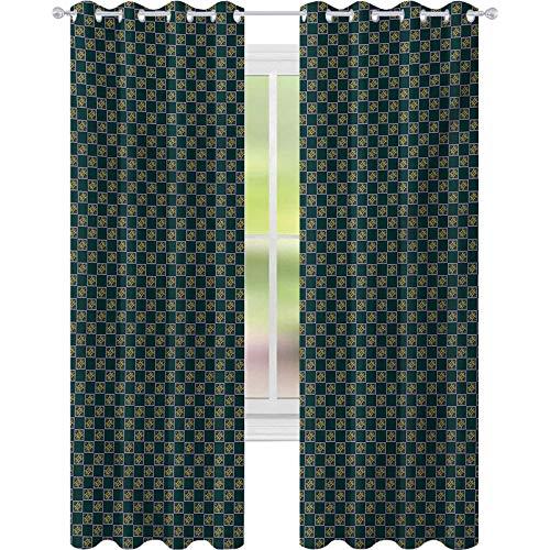 Cortinas de bloqueo de luz, motivos diagonales con remolinos y estrellas en marcos cuadrados arreglo de azulejos victoriano, 52 x 108 cortinas opacas para ventana, multicolor