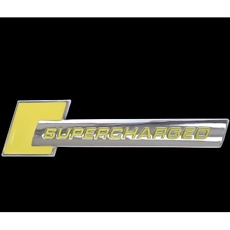 3d Chrom Gelb Emblem Aufkleber Logo Supercharged Tuning Motor Renn Sport L111 Auto
