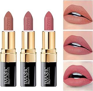 CCbeauty 3pcs Moisturizing & Matte Makeup Lipsticks Set Matte Lipstick Long Lasting,Soft Nudes