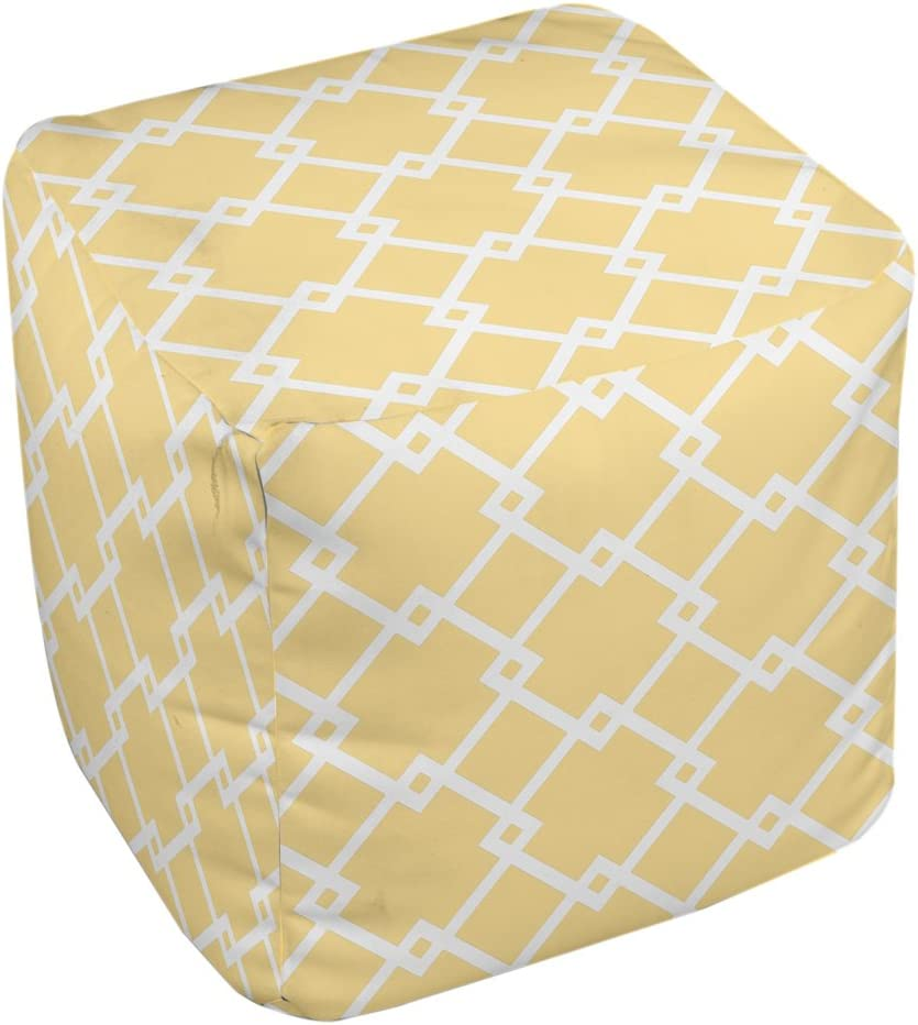 E by design FG-N10-Lemon_White-18 Geometric Pouf