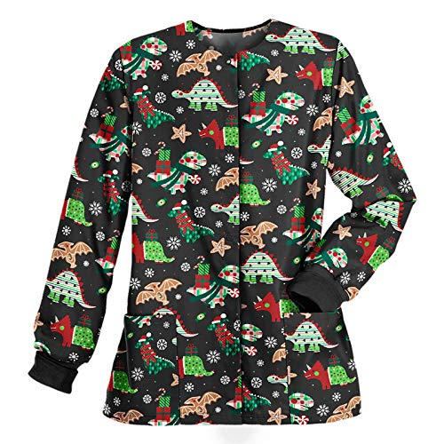 Women's Christmas Printed Workwear Lightweight Scrub Warm Up Jacket