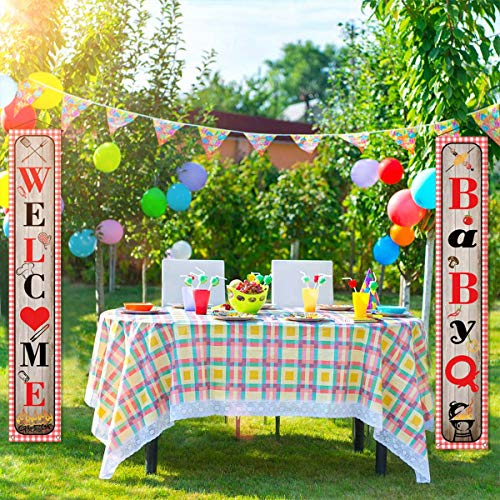 Babyq Baby Shower Decoration Sign Banner Baby Q Banner BBQ Themed Baby Shower Gender Reveal Birthday Party Decorations Supplies for Boy Girl