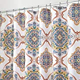 mDesign Decorative Paisley Damask Print - Easy Care Fabric Shower Curtain with Reinforced Buttonholes, for Bathroom Showers, Stalls and Bathtubs, Machine Washable - 72' x 72' - Multicolor