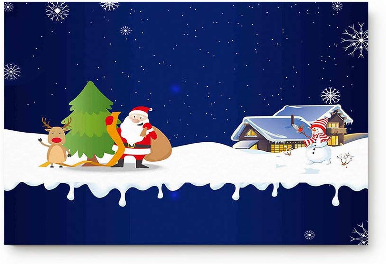 Prironde Doormat Indoor Welcome Mat Christmas Theme Santa Claus Snowman Elk Floor Mat Rug Non Slip Office Bedroom Front Door Bathroom Mats 20x31.5inch Entrance Mat Entrance Mat