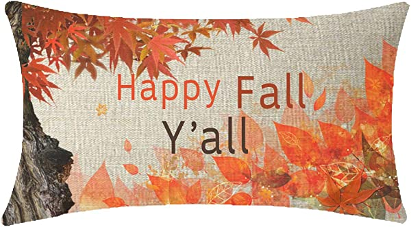 NIDITW Nice Gift Autumn Blessing Happy Fall Yall Watercolor Big Tree Fall Leaves Lumbar Waist Cotton Linen Throw Pillow Case Cushion Cover Sofa Decorative Oblong Long 12x20 Inches