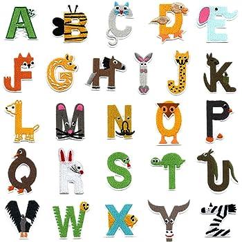 26 parches de letras del alfabeto A-Z, con forma de animal ...