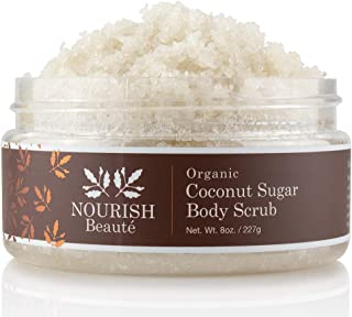 Nourish Beaute Organic Sugar Body Scrub, 8 Ounce, Coconut