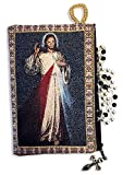 Religious Gifts The Divine Mercy Tapestry Icon Rosary Pouch Case with Zipper 5 3/8 Inch