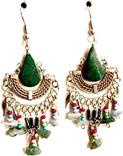Handmade Genuine Semi Precious Stone Earrings with Multi Stone Dangles - Surgical Steel Wires