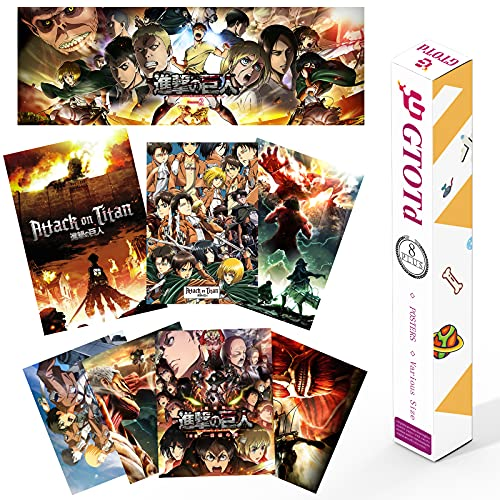 GTOTd Poster Anime attack on titan (8 pezzi/4 serie), formato multiplo, attack on titan, idea regalo per gli studenti, per la casa
