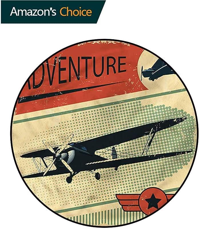 RUGSMAT Vintage Round Area Rug Adventure With Plane Non Slip Rug Diameter 24