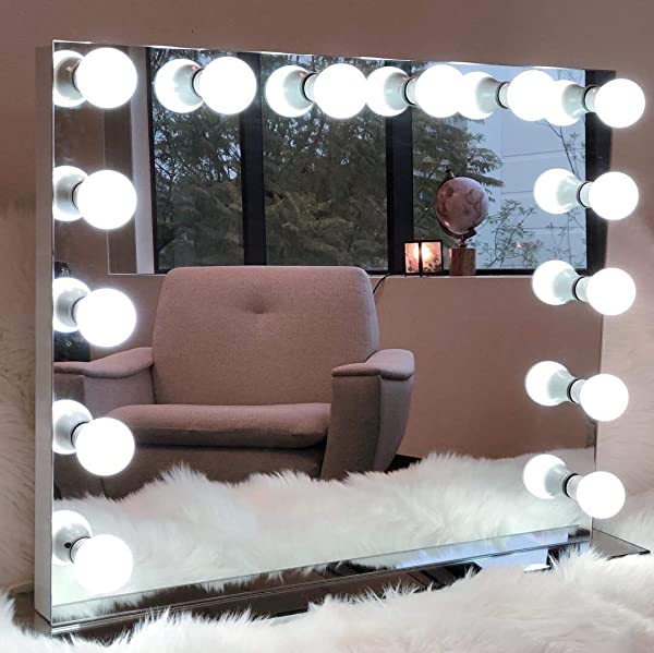 Moon Moon Hollywood Professional Makeup Mirror With Adjustable LED Lights USB White 8065