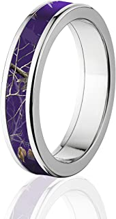Official Licensed Realtree Rings Purple Realtree Camo RIng, Titanium AP Camo Bands, 5MM Comfort Fit