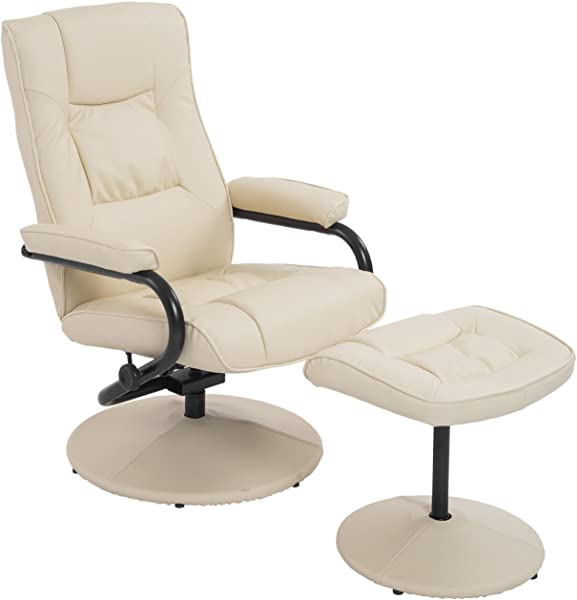 HomCom Ergonomic Faux Leather Lounge Armchair Recliner And Ottoman Set Cream White