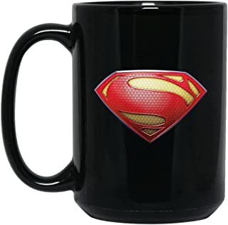 Superman Coffee Mug S Shield House Of El Logo Mug v2 15 oz Black Ceramic Cup Great for Hot Chocolate and Tea Cal El Clark Kent Justice Perfect Gift For Any Superman Comic Book or Justice League Fan
