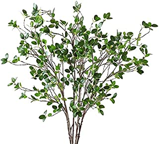 Htmeing Artificial Eucalytus Green Branches Faux Ficus Twig Home Office Shop Decoration (5 pcs)