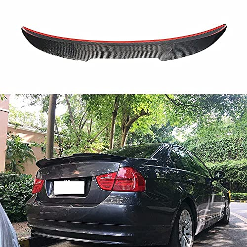 CHENGQIAN Auto Alettone Posteriore Spoiler Adatto per BMW Serie 3 E90 323I 325I 330I 335I / E90 M3 2005-2012 Berlina Fibra di Carbonio CF Posteriore Tetto Boot Lip Ala Spoiler