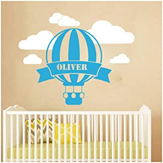 wbqhai Wall Decoration for Home Custom Name Hot Air Balloon Sky Wall Decal Children Room Bedroom Decoration Stickers Muraux 57X46Cm
