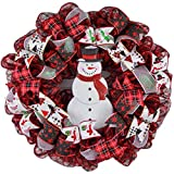 Winter Snowman Wreath - Welcome Buffalo Plaid Christmas Mesh Front Door Wreath; White Red Black