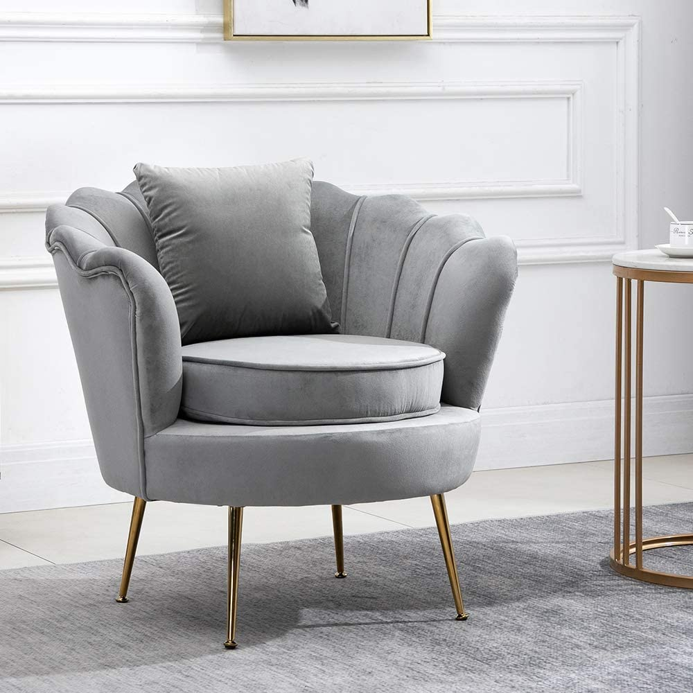 Ansley&HosHo Occasional Living Room Armchairs Tub Chairs Grey Velvet with  Ottoman Stool Set for Bedroom Lounge Single Wingback Sofa Side Chair with