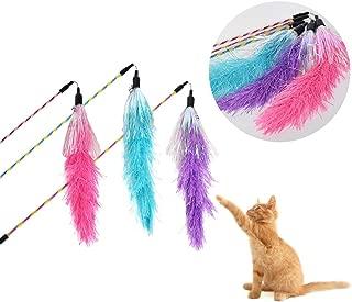 Frifer 猫じゃらしAngelpet じゃれ猫 猫のお好みじゃらし 猫のおもちゃ 天然鳥の羽棒鈴付き 羽根(7羽) 伸縮できる 釣り竿 (Blue)