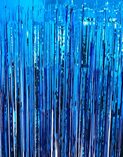 GOER 3.2 ft x 9.8 ft Metallic Tinsel Foil Fringe Curtains for Party Photo Backdrop Wedding Decor (Navy Blue,1 Pack)