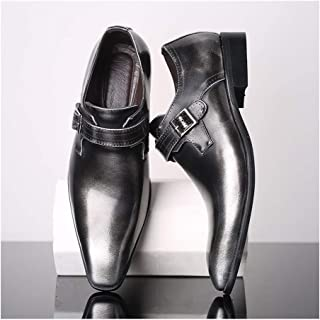 Enjoy4Beauty - Firmal Oxfords para hombre zapatos de negocios hebilla de boda de cuero sintético tacón bajo puntiagudo, co...