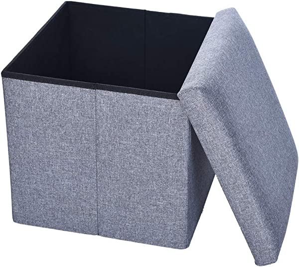 Cuekondy Faux Leather Folding Storage Ottoman Bench Cube Storage Chest Footrest Coffee Table Padded Seat Foldable Storage Box Foot Stool Seat Gray 38 X 38 X 5 Cm