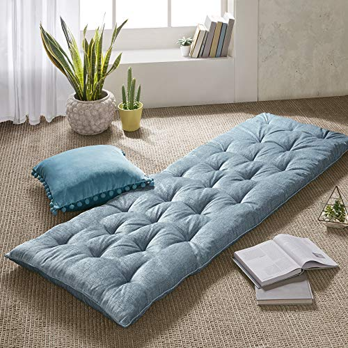 Intelligent Design Edelia Foldable Poly Chenille Lounge Floor Pillow Cushion Tufted Seat for Meditation, Game Playing, Yoga, Reading with Travel Wrap, 74x27, Aqua
