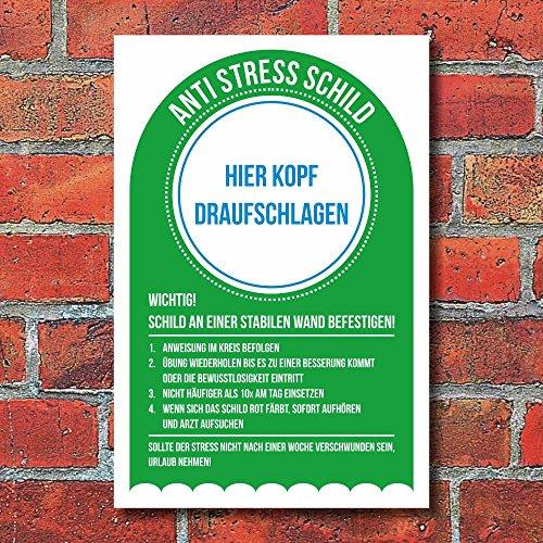 Anti Stress Schild Erleichterung Notfall Spaßschild Geschenk 3 mm Alu-Verbund 300 x 200 mm