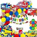 Decoración de Cumpleaños para Niño Tema de Transporte Globos de Cumpleaños Avión Tren Autobús Barco Globos de Papel de Aluminio Globos de Confeti de Látex de Color Niños