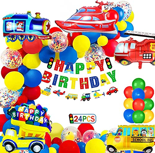 Decorazione di Compleanno per Bambini, Trasporto Forniture per Feste a Tema Banner di Buon Compleanno Foil Trasporto Set di Palloncini Coriandoli per Ragazze dei Ragazzi