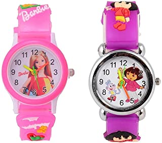 Shocknshop Analogue Girl's & Boy's Watch (Pack of 2) ( White Dial Pink & Purple Colored Strap )